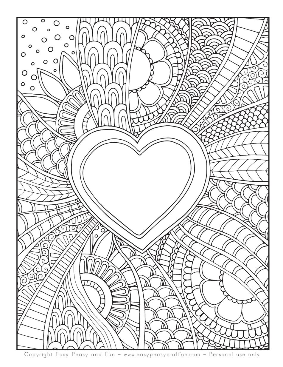 Doodle Heart Coloring Sheet Download Printable PDF   Templateroller