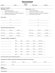 Infant Daily Report Template - Wee Care Child Care