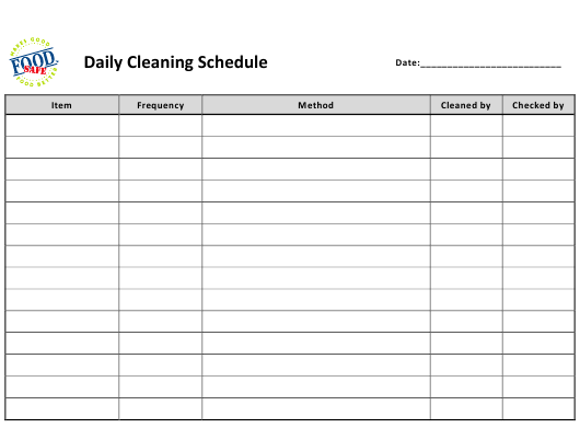 """Daily Cleaning Schedule Template - Food Safe"" Download Pdf"
