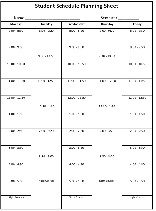 """""""Student Schedule Planning Sheet Template"""" Download Pdf"""