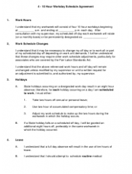 4-10 Hour Workday Schedule Agreement Template