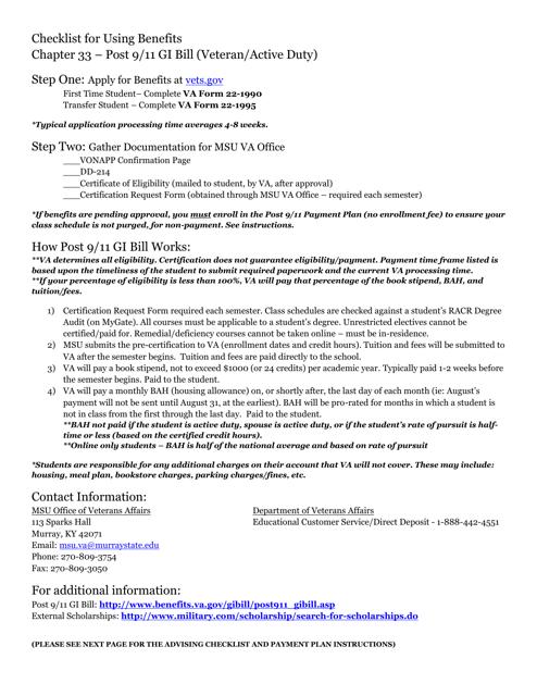 """Post 9/11 Gi Bill Checklist Form"" Download Pdf"