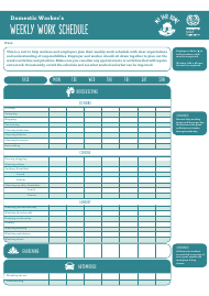 """Domestic Worker's Weekly Work Schedule Template - My Fair Home"""