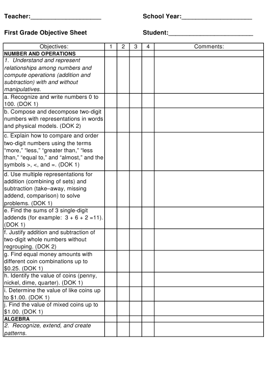 """""""First Grade Objective Sheet Template"""" Download Pdf"""
