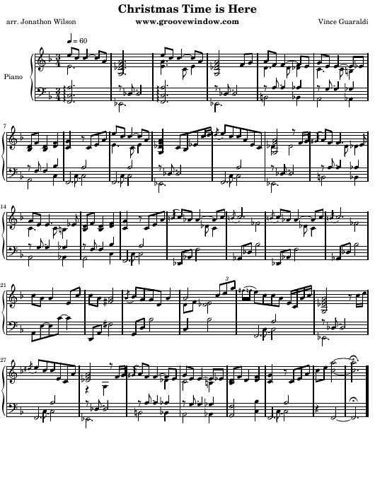Vince Guaraldi - Christmas Time Is Here Piano Sheet Music Download Printable PDF   Templateroller
