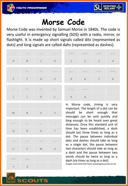 """Morse Code Chart - Scouting Ireland"" - Ireland Download Pdf"