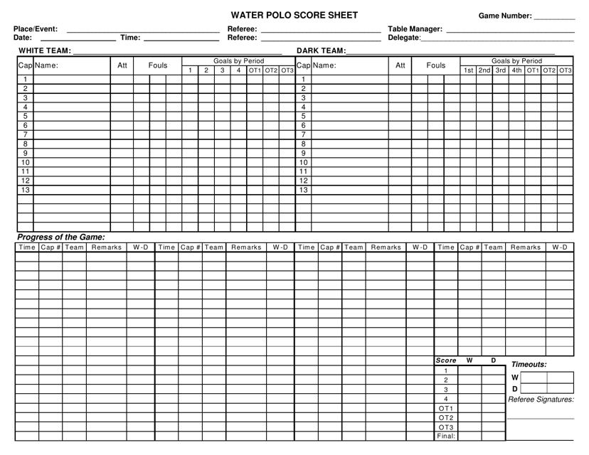 """""""Water Polo Score Sheet Template"""" Download Pdf"""