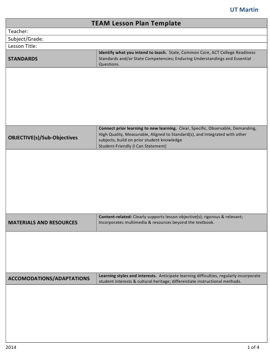 """Team Lesson Plan Template - Ut Martin"" Download Pdf"