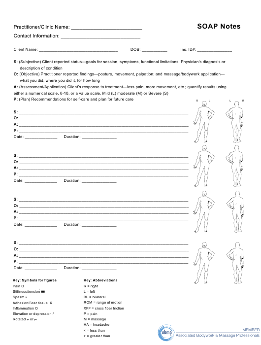 """Soap Notes Template - Associated Bodywork and Massage Professionals"" Download Pdf"