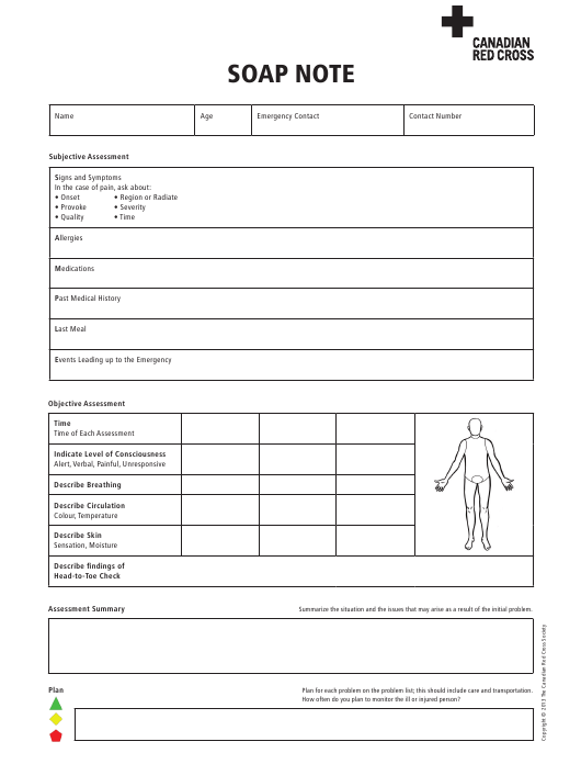 """Soap Note Template - Canadian Red Cross"" Download Pdf"