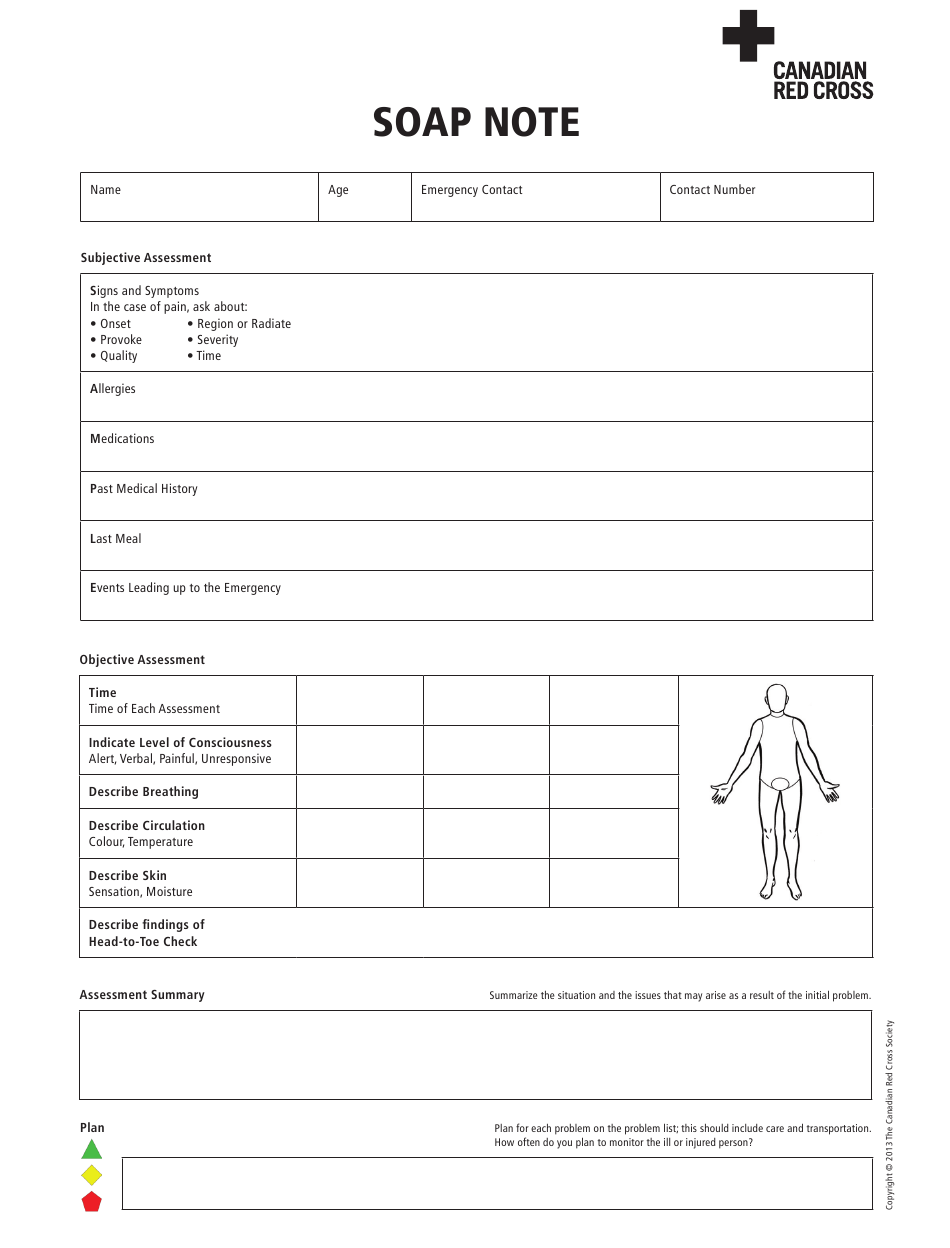 Soap Note Template - Canadian Red Cross Download Printable PDF For Soap Report Template