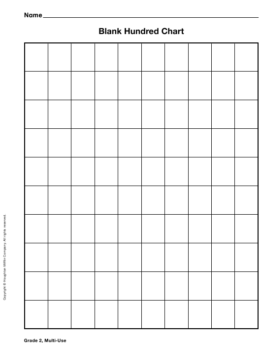 """""""Blank Hundred Chart Template"""" Download Pdf"""
