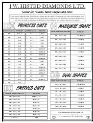 Diamond Sizes Chart - J.w. Histed Diamonds Ltd