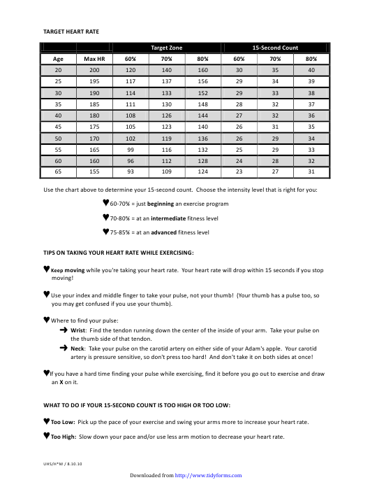 """Target Heart Rate Chart"" Download Pdf"