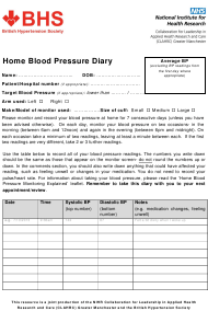 """Home Blood Pressure Diary - British Hypertension Society"" - United Kingdom"