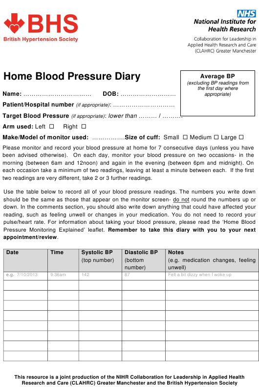 """Home Blood Pressure Diary - British Hypertension Society"" - United Kingdom Download Pdf"