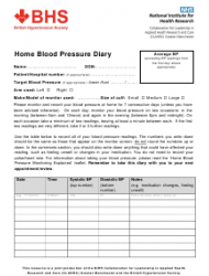 Home Blood Pressure Diary - British Hypertension Society