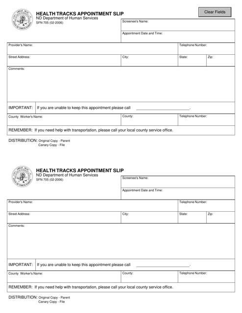 Form SFN705  Printable Pdf
