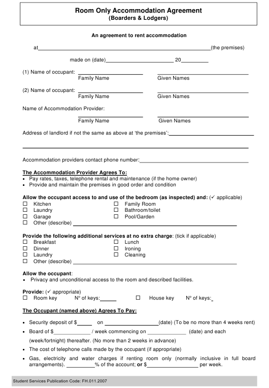 Room Only Accommodation Agreement Template (Boarders & Lodgers) - Australia Download Pdf