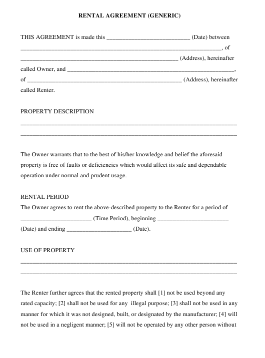 """Rental Agreement (Generic) Template"" Download Pdf"