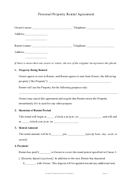 Personal Property Rental Agreement Template
