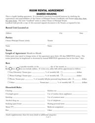 """Room Rental Agreement Form - Shared Housing"" - County of Santa Cruz, California"