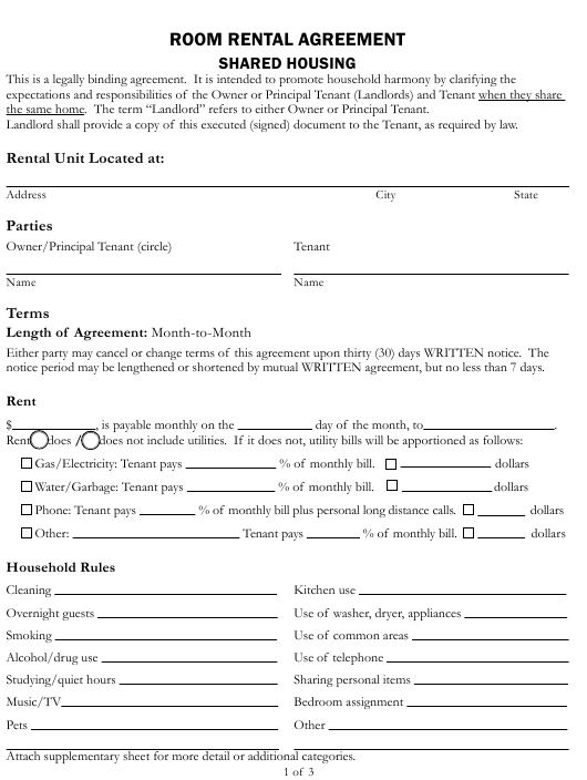 Room Rental Agreement Form Shared Housing County Of