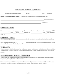 """""""Limousine Rental Contract Template"""""""