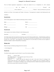 Sample Car Rental Contract Template
