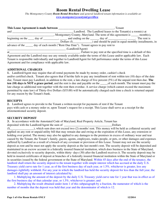 """Room Rental Dwelling Lease Form"" - Montgomery County, Maryland Download Pdf"