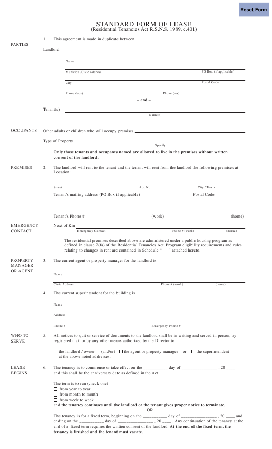 """Standard Form of Lease"" Download Pdf"