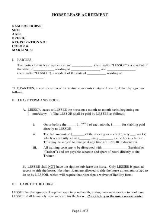 Horse Lease Agreement Template Download Printable PDF | Templateroller