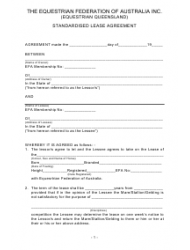 Standardised Horse Lease Agreement Template The Equestrian