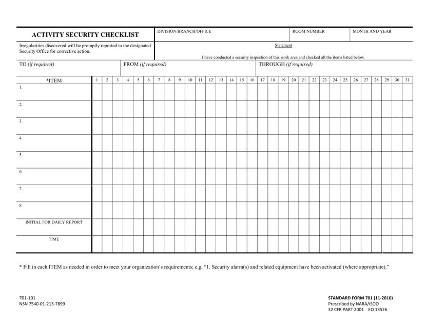 Form SF-701  Printable Pdf