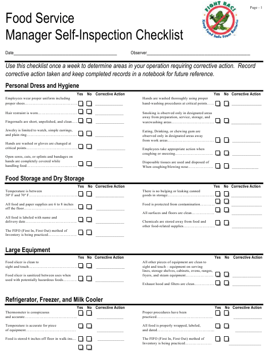 """""""Food Service Manager Self-inspection Checklist"""" Download Pdf"""