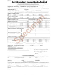 Application Form for Change of Subjects/Group - Punjab