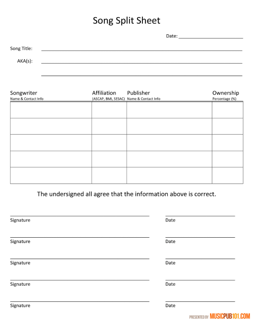 Song Publishing Split Sheet Template Download Printable Pdf