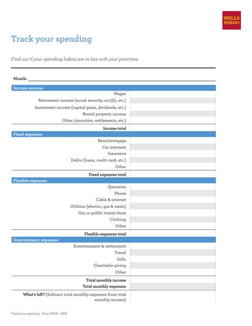 Monthly Spending Spreadsheet Template - Wells Fargo Download