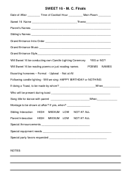 Sweet 16 Party Arrangement Form - M. C. Finals