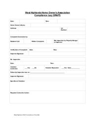 Compliance Log Template - West Highlands Home Owner's Association - West Highlands, Scottish Borders
