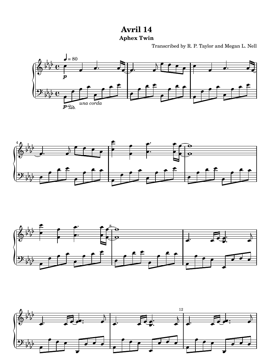 Aphex Twin Avril 14th Piano Sheet Music Download Printable Pdf Templateroller