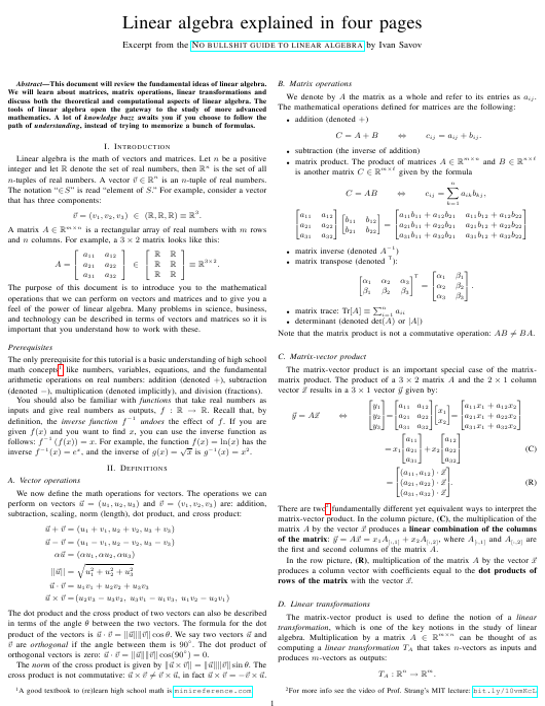 Linear Algebra Cheat Sheet Download Printable PDF   Templateroller