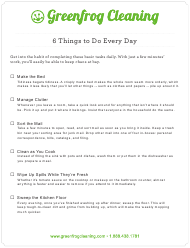 """""""6 Things to Do Everyday Cleaning Checklist Template - Greenfrog Cleaning"""""""