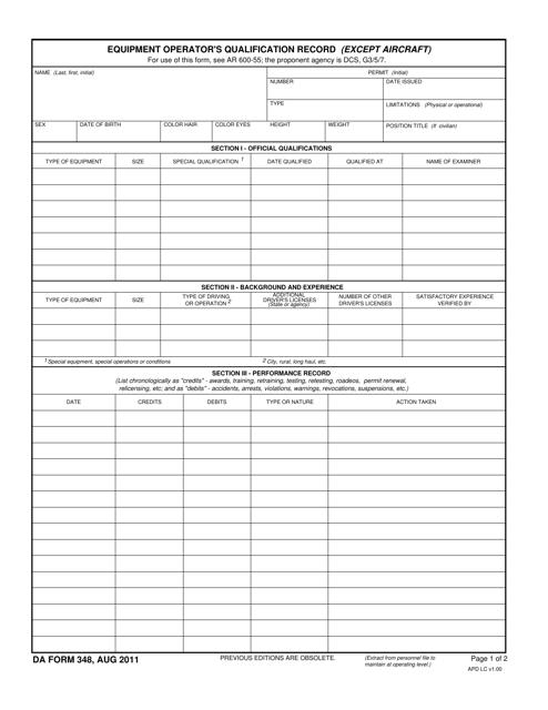 DA Form 348  Printable Pdf