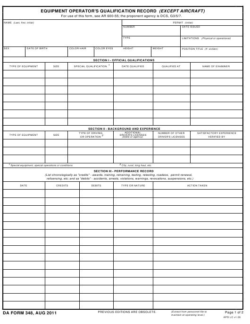 DA Form 348 Fillable Pdf