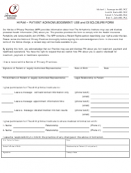 Hipaa Patient Acknowledgement/Use and Disclosure Form - the Arrhythmia Institute - Maryland