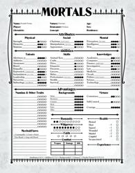 Vampire: the Masquerade Mortals Character Sheet