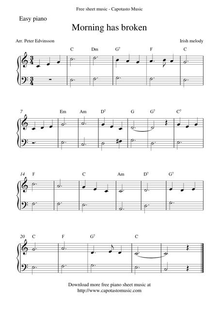 Morning Has Broken Piano Sheet Music Download Printable PDF