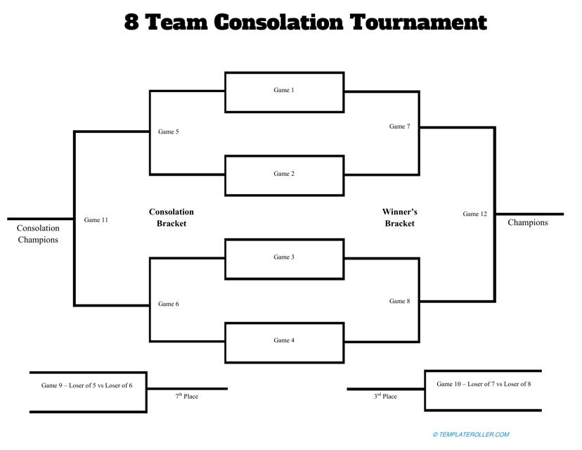 """8 Team Consolation Tournament Template"" Download Pdf"