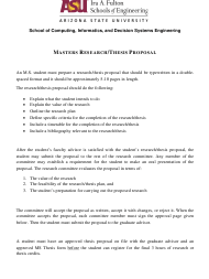 """Masters Research/Thesis Proposal Template - Arizona State University"""